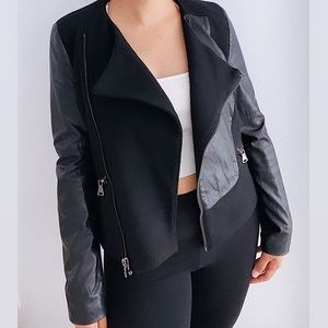 Zara Wool Blend Faux Leather Moto Biker Jacket